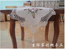 Handmade ribbon embroidery Crochet Tablecloths juxtaposition hollow oval Table flag Table cloth bedside cabinet Table Runner
