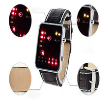 Unisex Durable Digital Red LED Sport Wrist Watch Binary Wristwatch PU Leather Women Mens High Qulity Hot Maketing Unique M3