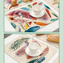 42x32cm Feather Patter Pattern Cotton Linen Western Pad Placemat Insulation Cloth Dining Table Mat Coasters Kitchen Accessories(China)