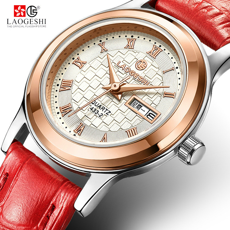 Laogeshi 2017 New Fashion brand leather strap quartz women watches women ladies dress watches Female Casual Gold Watches<br>