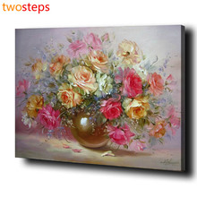 TwoSteps DIY Digital Canvas Oil Painting By Numbers Pictures Coloring By Numbers Acrylic Paint By Number Kits Colorful Flowers