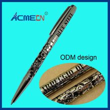 Etching Logo Pen Unique Design Brass Ballpoint Pen Embossing Pattern Famous Branded Pens for Retail Shop Pen & Pencil Supplier