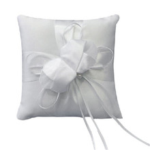 Small Ring Cushion Beautiful Lvory Bud Flower Wedding Ring Pillow 15cmx15cm wedding party bridal ring pillow seat drop shipping(China)