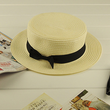 DHL/EMS Free Shipping Wholesales Sunbonnet Summer Beach Wheat Straw Fedora Trilby Panama Brim Boater Hat Cap With Belt Ribbon