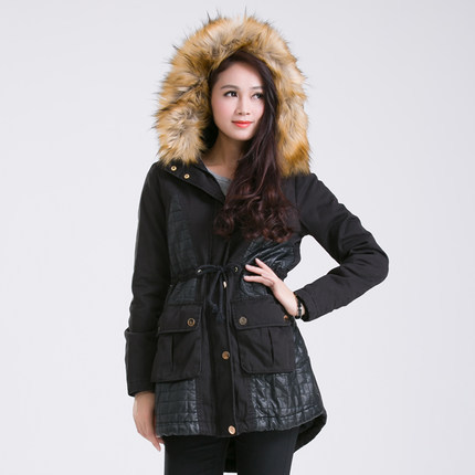 2015 Women PU Patchwork Wadded Parkas Coat Fashion Winter Fur Collar Long Jackets Woman Plus Size Cotton Padded Overcoat H4487Одежда и ак�е��уары<br><br><br>Aliexpress