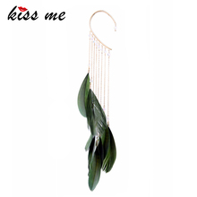 KISS ME Trendy Green Natural Feather Earrings Unique Single Long Alloy Chain Tassel Drop Earrings for Women Fashion Jewelry(China)