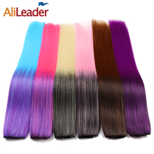 Alileader Kanekalon Synthetic Hair Extensions Heat Resistant Full Head Clip In Hair Extensions Ombre Hair 22 Inch 1Pcs/Lot(China)