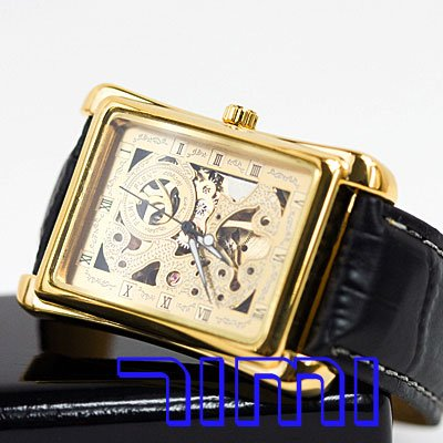fashion New Luxury Rome Golden Skeleton mechanical Dress Watch<br><br>Aliexpress