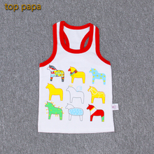 Top papa 2017 New Arrive Discount Factory Children's Vest Summer Bamboo Animal Pattern Pure Cotton Sleeveless Children Clothing
