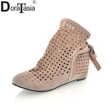 DoraTasia Big Size 34-43 Fashion Women Cut Out Flock Low Hidden Wedges Summer Boots Short Ankle Boots Round Toe Summer Shoes