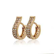 Aliexpress Sale New Children Gold-Color Earrings Zircon Baby CC Hoop Earring Brinco Fashion Jewelry Free shipping 13E18K-87(China)