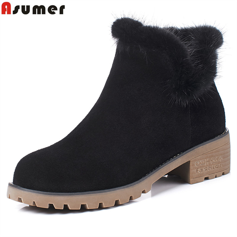 Asumer 2018 new high quality cow suede leather boots women square heels autumn winter ankle boots solid color snow boots size 40<br>