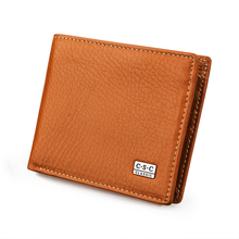 Orange Litchi pattern Cowhide Real Genuine Leather Wallets Men Bifold Clutch Coin Purses Pouch ID Credit Card Holder For Gift