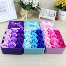 1 pcs 9.5*12.5*4.5CM 12 Immortal Rose Heart Iron Box Soap Flower Girlfriend Birthday Gift