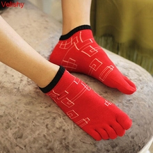 5 Colors 3D Print Breathable Cotton Men Ankle Socks Summer Five Finger Socks For Men