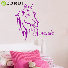 Custom DIY Personalized Name Horse Head Wall Sticker Vinyl Wall Art Nursery Wall Decals Home Decor for Kids Rooms 21 COLOR(China)
