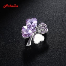 Promotional new hotsales factory wholesale 18KGP Austrian crystal four leaf clover brooch women's accessories fashion jewelry