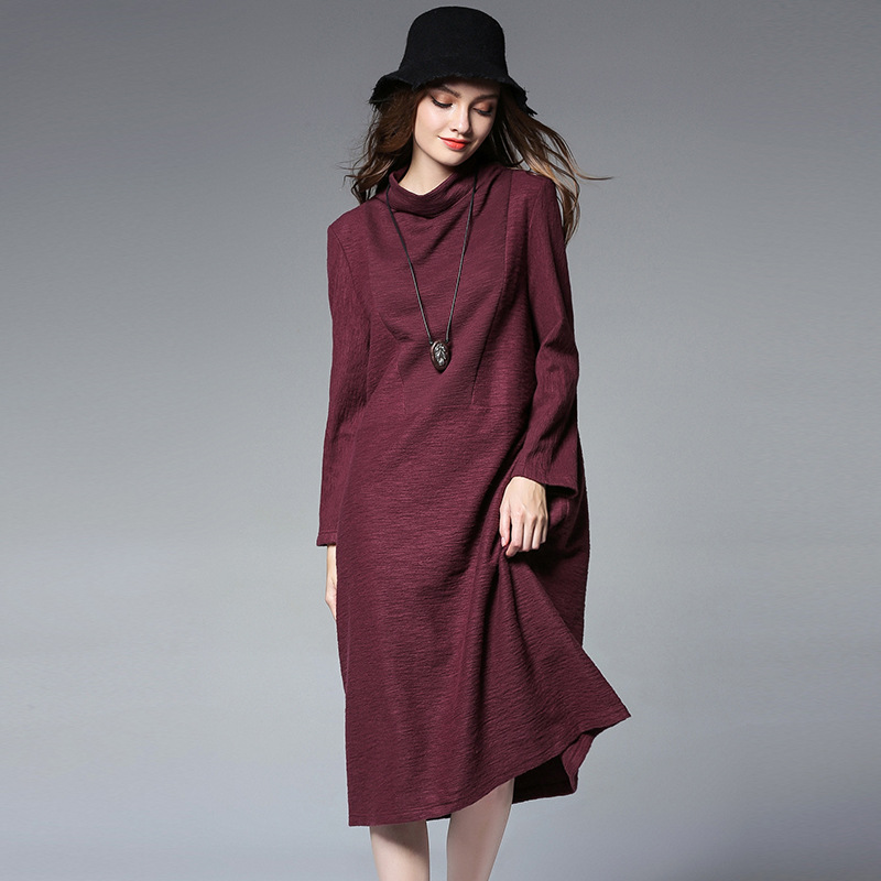 2017Autumn fashion ladies loose Fit turtleneck mid-calf Dress elegant knitted dress longos dress plus size vestido XL-XXXXL 6627Îäåæäà è àêñåññóàðû<br><br>