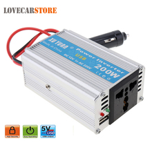 200W DC 12V 24V to AC 220V 110V Auto Car Power Inverter Converter Adapter Adaptor with USB Portable Stereos Charging Port