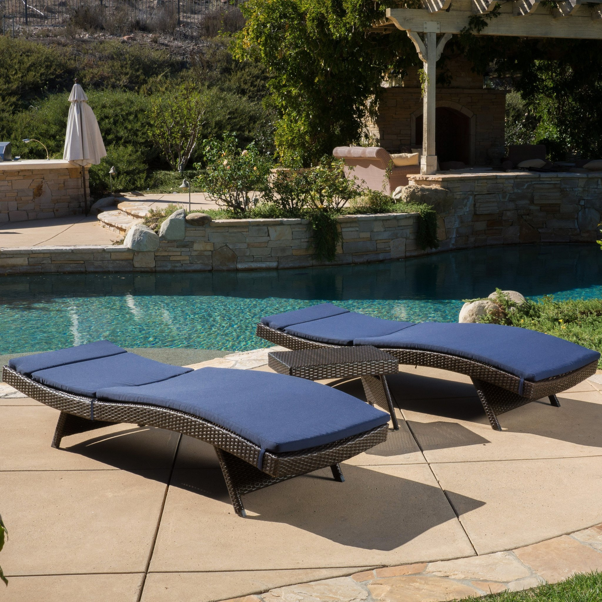Lakeport Outdoor 3-piece Wicker Adjustable Chaise Lounge Set with Cushions