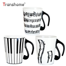 Transhome Creative Ceramic Mug 300ml Fashion Piano Musical Note Porcelain Milk Coffee Mug With Handgrip Kuksa Rtic Birthday Gift(China)