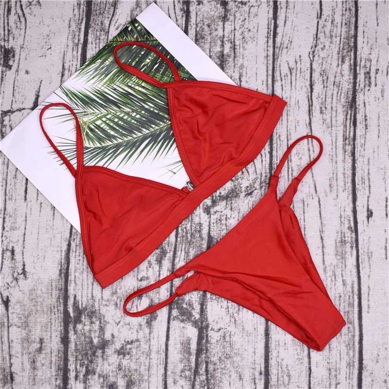 19 Sexy Bikini Set Brazilian Cut Swimsuit Women Swimwear Halter Biquinis Retro Style Cheeky Simple Thong Bikinis Hot maillot 15