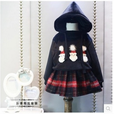 Childrens clothes, 2017 han edition  a new girls Christmas hooded plush fleece + plaid skirt  two pieces  free shipping<br><br>Aliexpress
