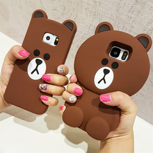 Cute Korean Cartoon Case 3D Teddy Bear Silicone Phone Cases For Samsung Galaxy S3 S4 S5 S6 Edge S7 Edge S8 S8 Plus Note 3/4/5(China)
