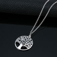 24PCS/Lot Wholesale Fashion Tree of Life Pendants  Necklaces Silver Plated Necklace Women Men Jewelry Charm Gift For Family Girl