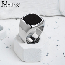Mcllroy Punk Rock Men Ring Gold Stainless Steel Round Finger Rings for Male Wedding Jewelry Drip oil Rings