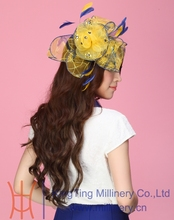 Free Shipping Fashion Beautiful Women Fascinator Hats Hair Bow Wedding Accessories Organza Hairdress Flowers Hairbands Yellow