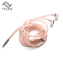 2017 TTLIFE Fashion Bling Diamond Earphones Pearl Necklace Rhinestone Wired In-Ear Headset With Mic Stereo Earbuds For Phones
