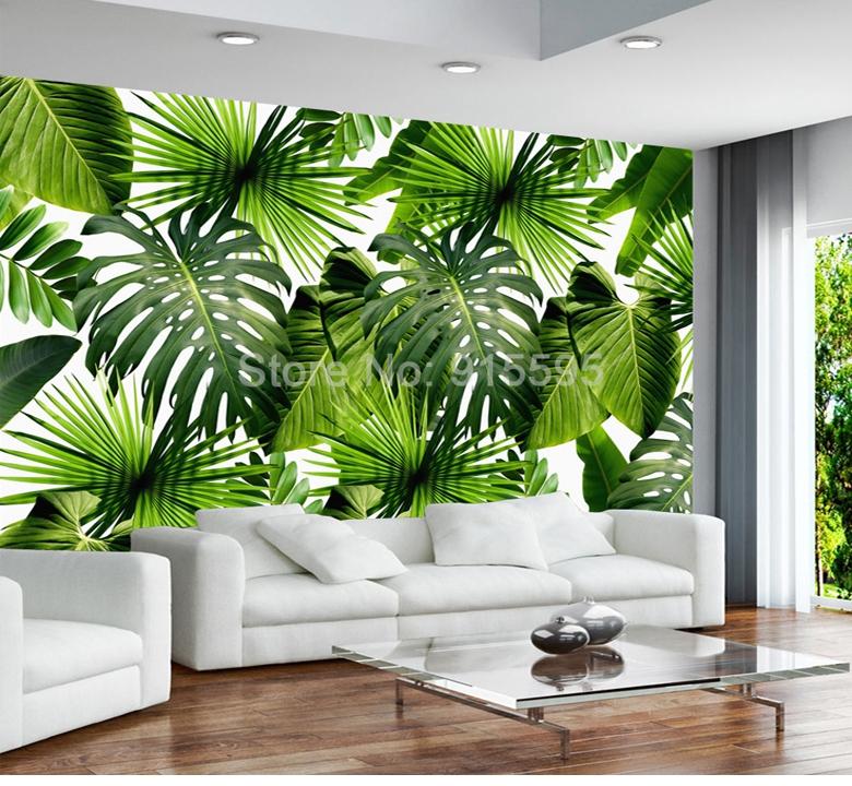 Custom 3D Mural Wallpaper Southeast Asia Tropical Rainforest Banana Leaf Photo Wallpaper Modern (1 ㎡)
