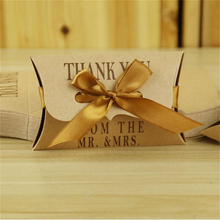 Free Shipping 50pcs/Lot Kraft Pillow Wedding Favor Boxes Wedding Candy Box Wedding Favors And Gifts With Ribbon(China)