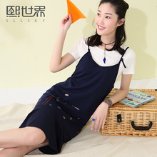 High Quality Products Short Summer Dress Casual 2017 New O Neck Embroidery Set Strap Long Mermaid Dress 106SL159