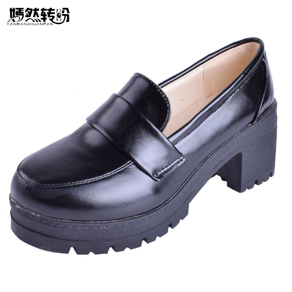 Mori Girl Single Shoe Cosolay Uniform College Student Maid Round Toe Japanese School Uniform Uwabaki Flat Shoes Black Wine<br>