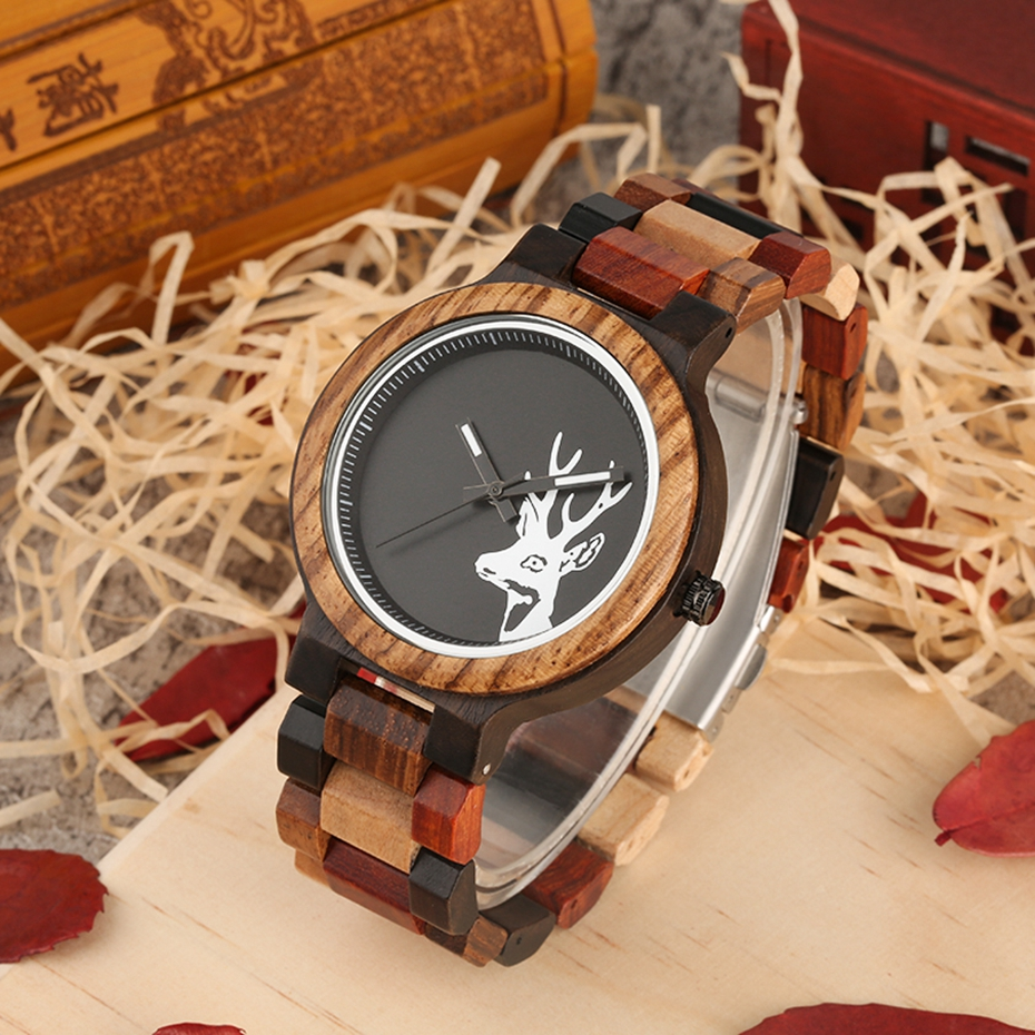 Unique Mixed Color Wood Watch Men Creative Deer Head Elk Clock Man Retro Full Wooden Wrist Quartz Watch Top Luxury Men\`s Watches 2018 2019 (8)