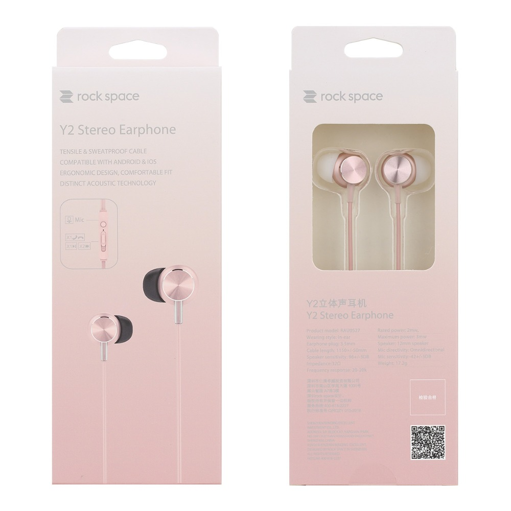 ROCK Y2 Stereo Earphone with Microphone Sports Earbuds Earphones for all 3.5 mm Audio Smartphone for iPhone Xiaomi Samsung