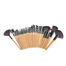 32Pcs Professional Wood Makeup Brushes Cosmetic Makeup Brush Set Roll Up Case Eyeliner