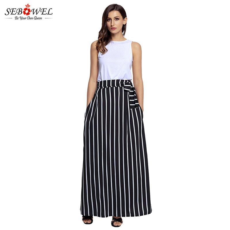 Black-Striped-Maxi-Skirt-LC65037-2-3