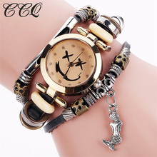 CCQ Fashion Vintage Cow Leather Bracelet Smile Face Watches Casual Women Crystal Gold Quartz Watch Relogio Feminino 2065