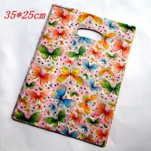 100pcs/bag 25*35cm Black flowers pattern Plastic Jewelry Gift bag Beautiful Plastic Shopping Bags Recyclable 2529
