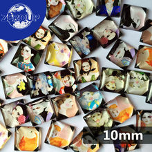 50pcs/lot 10mm clear square glass cabochon the girl of cartoon pattern mixed color fit cameo base setting