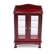 High Quality 1:12 Dollhouse Mini Wooden Kitchen Cabinet Model Coffee Furniture Pretend Play Classic Toys Doll House Decoration(China)