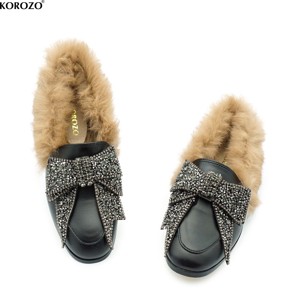 Diamonds Bow Shoes Designer Women Real Rabbit Fur Loafers Rhinestone Crystal Furry Moccasins Closed Back Slipony Flats Slip On<br>