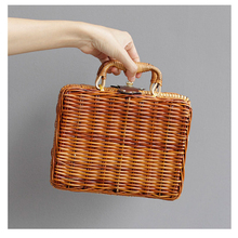 Luxe Brand Bamboo Bag Fashion Beach Straw Tote Bag Famous Unique Ladies Travel Clutch  Designer Bamboo Handbag Big Travel Clutch