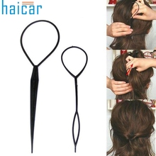 Best Deal Set of 2 Pcs Size L and S  Black Topsy Tail Hair Braid Pony Tail Maker Hair Styling Salon Tools for Beauty