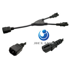 IEC 320 C14 Male Plug to 2XC15 Female Y Type Splitter Power Cord,1ft,C14-C15 Extension Power Cord,5 pcs(China)
