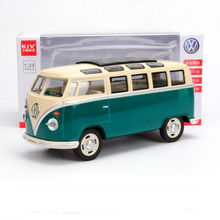 1:24 scale car toy Volkswagen T1 microbus diecast car tourist bus alloy pull back toy with sound and light ollection decoration(China)