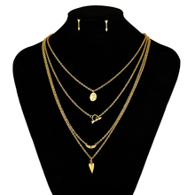 2016 New Multi Layer Women Necklace Gold Jewelry Sets Anchor 4 Layer Necklace And Earrings Stainless Steel Jewelry Set FN1